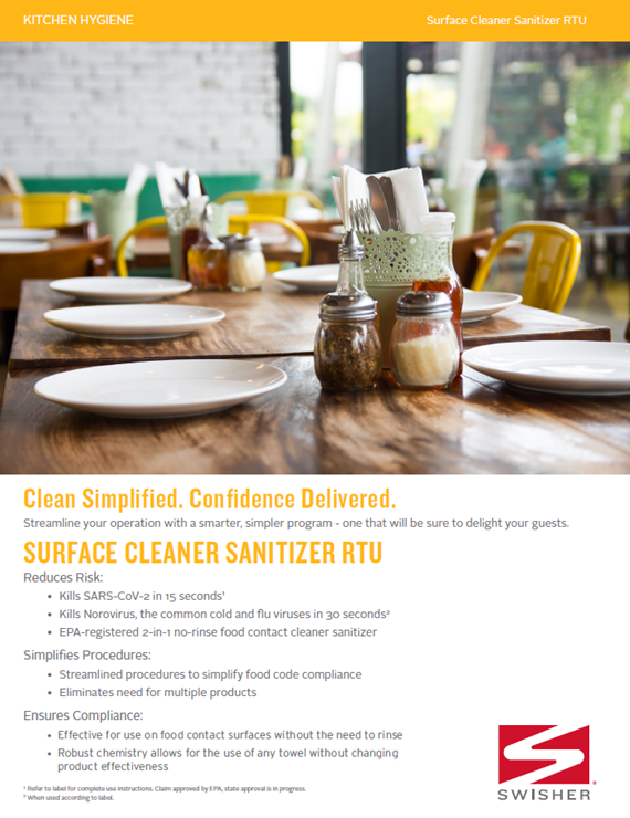 Swisher Surface Cleaner Sanitizer RTU Sell Sheet
